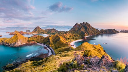 View of Padar Island before after sunrise