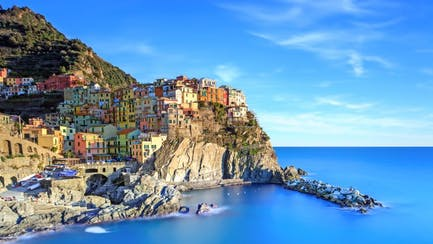Scenic view of Cinque Terre and West Mediterranean luxury yacht yachter