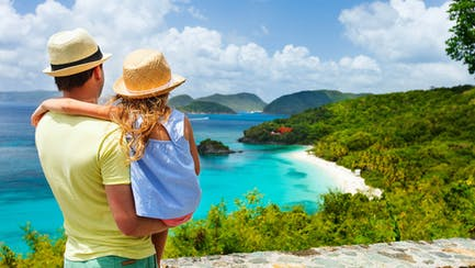 father and daughter family overlooking luxury yacht charters in the Virgin Islands