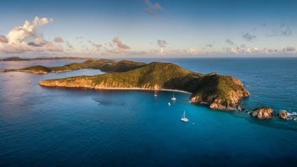 british virgin islands with charter superyacht in the caribbean ocean