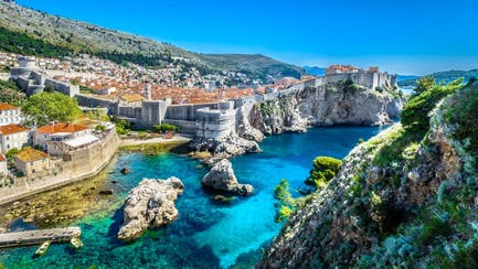 luxury cityscape view of Dubrovnik Croatia from private yacht charter on adriatic coast