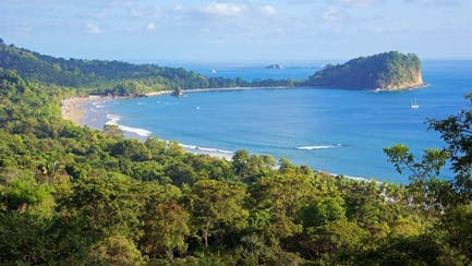 Costa Rica yacht charter anchored in Manual Antonio National Park in central america
