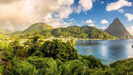 caribbean private superyacht charter in St. Lucia overlooking Pitons and luxury villa rental