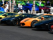 A line of colorful Lamborghinis at Bull Days Monaco 2020