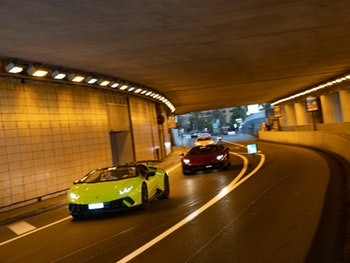 Lamborghinis driving through a tunnel at Bull Days Monaco 2020