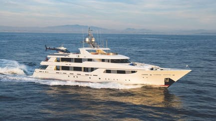 westport 164 yacht for sale with helipad and helicopter